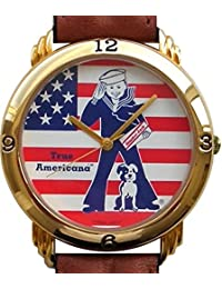 "Rare Vintage ""Cracker Jack"" 100th Anniversary Limited Edition Collectible Watch with American Flag Dial Comes in a Replica Cracker Jack Box with the Watch As the Prize Inside"