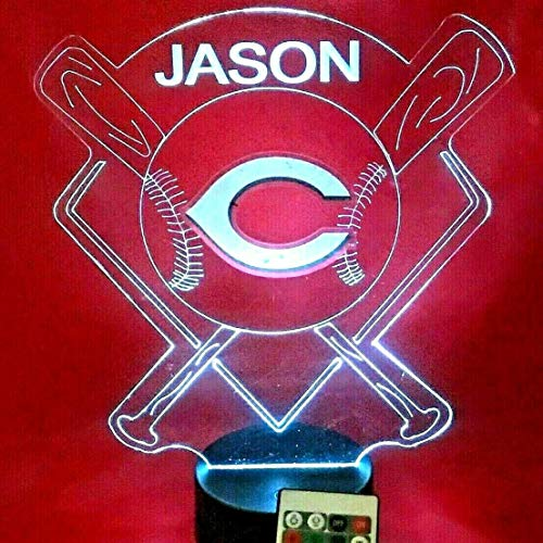 Cincinnati Reds MLB Baseball Light Up Lamp LED Illusion Personalized Table Night Lamp, Our Newest Feature - It's Wow, with Remote 16 Color Options, Dimmer, Free Engraved Great Gift