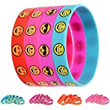 GoaPly Pack of 48 Emoji Silicone Wristbands, Perimeter 7.1 inches Sized for Children, Goody Bag Surprise Party Bracelets for Kids Emoji Birthday Party Supplies Favors