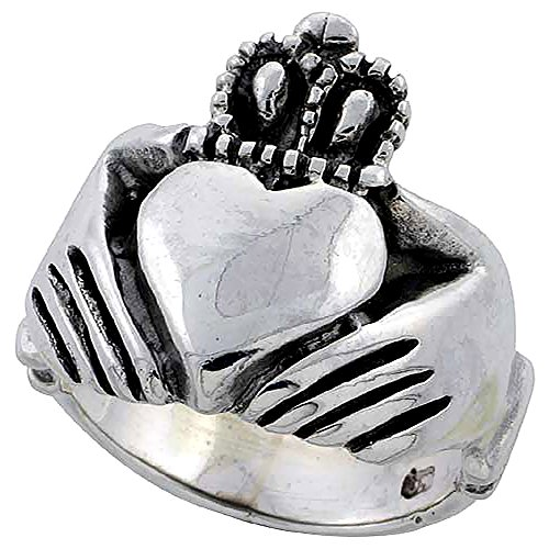 Large Claddagh Ring - Sterling Silver Claddagh Ring for Women Large 3/4 inch size 9