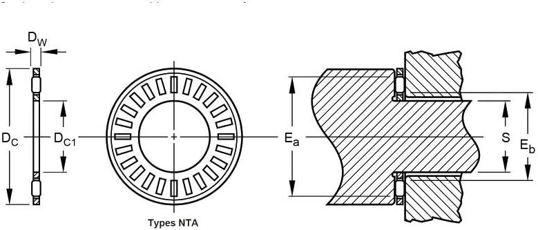 BAIJIAXIUSHANG NTA613 TRA Inch Thrust Needle Roller Bearing NTA Series with 2 TRA613 Washers 5Pcs TC613 NTA 613 Bearings 9.53x20.625x1.984mm Needle Roller