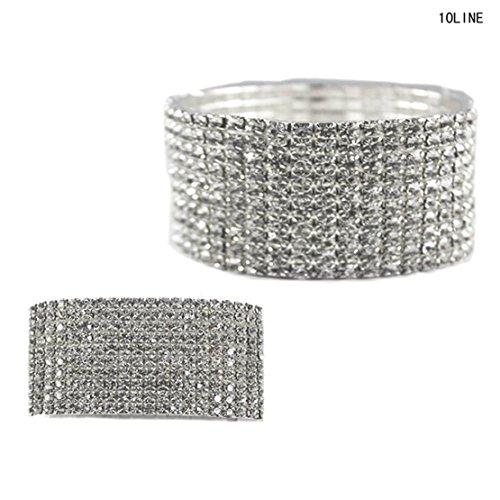 NYFASHION101 Clear Rhinestone Pave 10 Row Stretch Bracelet in Silver-Tone ()