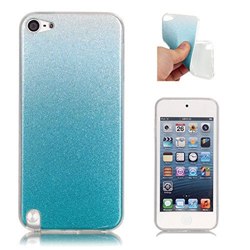 (iPod Touch 6th 5th Generation Case Aeeque Ultra Thin Soft Rubber TPU Silicone Bling Glitter Slimcase Scratch Resistant Back Cover Skin Bumper Protective Phone Case for iPod Touch 5/6 - Sky Blue)