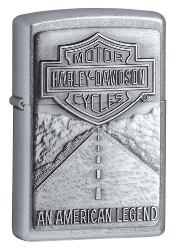 Zippo Harley Davidson Shield and American Legend Emblem Street Chrome Pocket Lighter