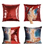 Cat Spaceship Pizza Funny Space Catto P41 Sequin pillow, Sequin Pillowcase, Two color pillow, Fift for her, Gift for him, Magic Pillow, Mermaid Pillow, Scales Pillow Cover