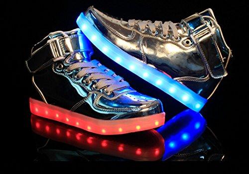 Toota 8 Colori Light Up High Top Ricarica Usb Led Da Donna E Da Uomo Scarpe Da Ginnastica Lampeggianti Argento