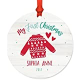 Andaz Press Personalized Baby 1st Christmas Metal Ornament, My First Christmas, Sophia Anne 2018, Fair Isle Holiday Ugly Sweater, 1-Pack, Includes Ribbon and Gift Bag, Custom Name