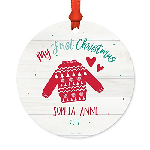 Andaz Press Personalized Baby 1st Christmas Metal Ornament, My First Christmas, Sophia Anne 2019, Fair Isle Holiday Ugly Sweater, 1-Pack, Includes Ribbon and Gift Bag, Custom Name]()
