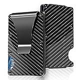 carbon fiber wallet rfid blocking credit card holder metal wallet with money clip screw fixation