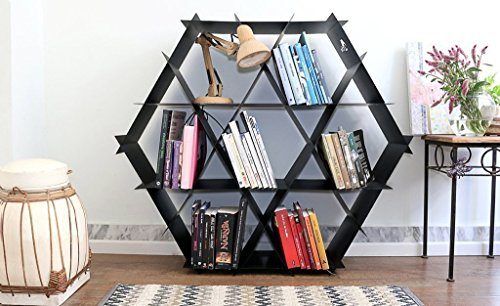 Bookcase, living room furniture, shelving unit, hexagonal shelf, honeycomb shelves, DIY furniture, Ruche shelving unit- Large size - Satin black.