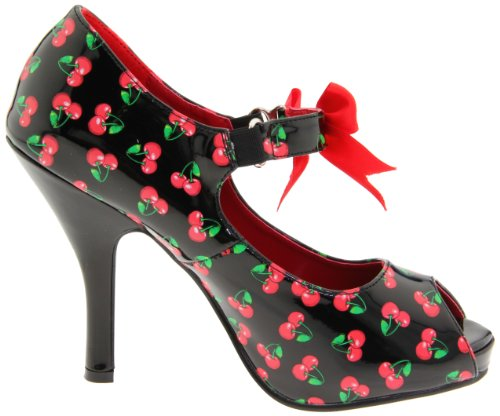 Pinup Couture - zapatos de tacón mujer Blk-Red Pat (Cherries Print)