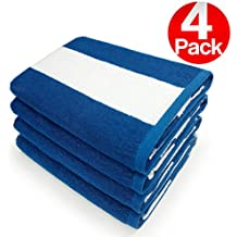 KAUFMAN- SET OF 4 BLUE CABANA , BEACH AND POOL TOWELS. 100% COTTON .