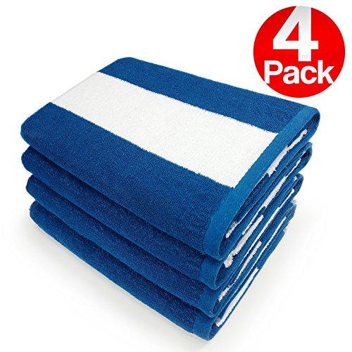 KAUFMAN- SET OF 4 BLUE CABANA , BEACH AND POOL TOWELS. 100%