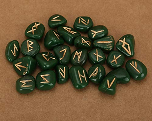 - Natural Crystal Jade Green Orgone Rune Tumbled Engraved Lettering Set for Wicca Reiki Healing Chakra (Just Colored Resin/Orgone with Symbol)