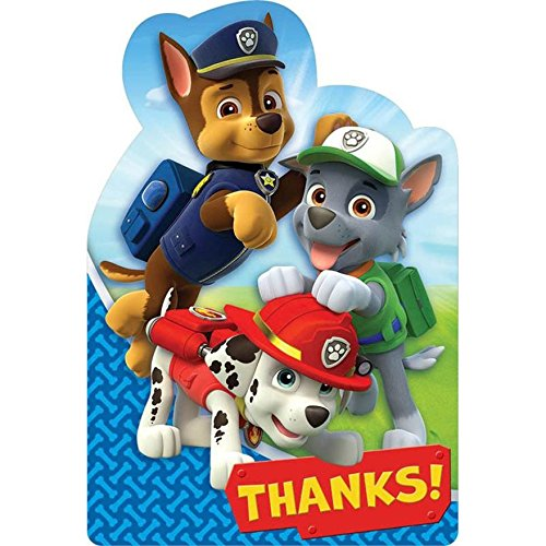 Paw Patrol Birthday Party Supplies 16 Pack Thank You Notes -