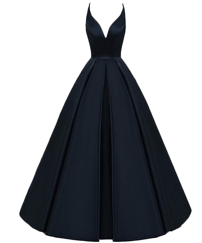 Dark Navy ASBridal Prom Dresses Halter Formal Evening Gown Long Satin Wedding Party Dress Backless
