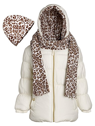 Trend Lab Teal Bubbles (Pink Platinum Girls Hooded Winter Puffer Bubble Jacket Coat Matching Hat & Scarf - Cream (Size 4))