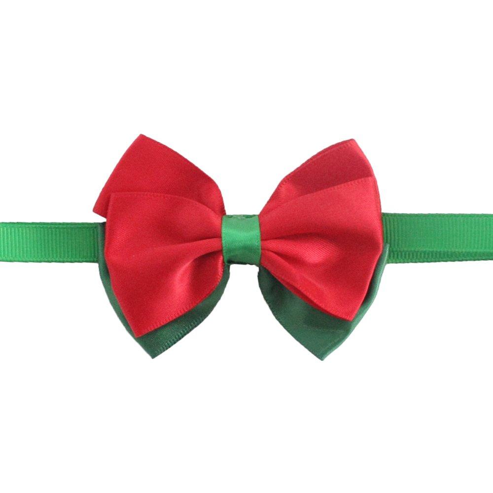 50PCs Dog Charm Collar Handmade Bow Tie Green Red Merry Christmas Dress up Small Medium Dog