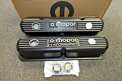 (Mopar Performance Cast Aluminum Valve Covers Mopar Small Block LA Engine.)