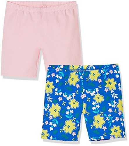 A for Awesome Girls Bike Short 2 Pack X-Small Orchid Pink & Ellis Blue Floral AOP Bike Cotton Shirt