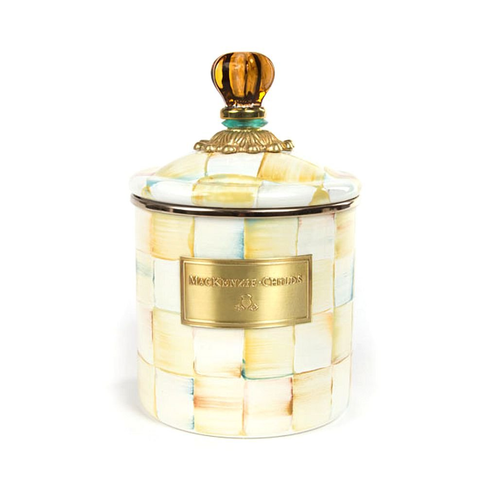 MacKenzie-Childs Parchment Check Enamel Canister Small