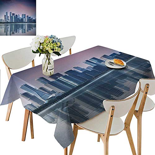 UHOO2018 Solid Tablecloth CBD, a Commercial Center for Urban Buildings and high Buildings Square/Rectangle Spillproof Fabric Tablecloth,50 x102inch