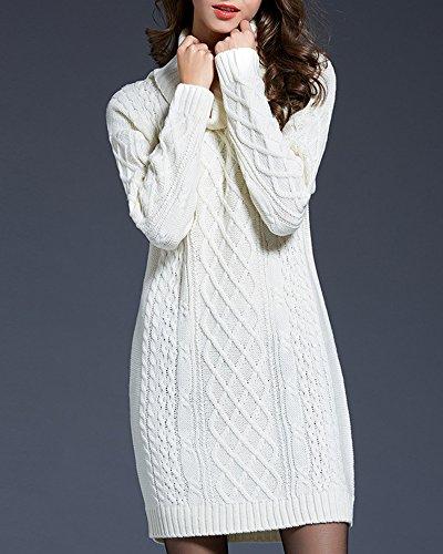 Lunga Collo Alto Bianco ZhuiKun Lunghe A Vestiti Donna Maglia Maniche Pullover Maglione In Maglioni 4CqqTAxwSn