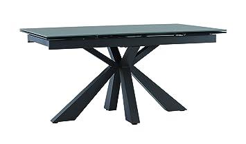 Meubletmoi Table Extensible En Verre Gris 160 240 Cm Pied Central