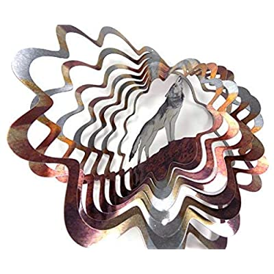 WorldaWhirl Whirligig 3D Wind Spinner Hand Painted Stainless Steel Twister Wolf (6.5 Inch, Multi Color) : Garden & Outdoor