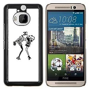 TECHCASE---Cubierta de la caja de protección para la piel dura ** HTC One M9+ M9 Plus ** --blanco vestido de moda de diseño negro