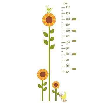 Sonnenblume Messlatte Wandtattoo Von Stickerscape   Wandaufkleber (Grün)