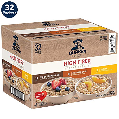 Quaker Quaker Instant Oatmeal, High Fiber Variety Pack, 32Count
