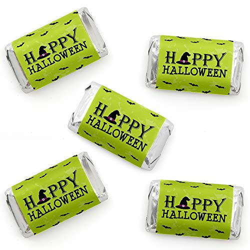 Happy Halloween - Mini Candy Bar Wrapper Stickers - Witch Party Small Favors - 40 Count -