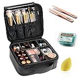 VASKER Travel Makeup Bag Leather Waterproof Cosmetic Case with Adjustable Divider VA-07