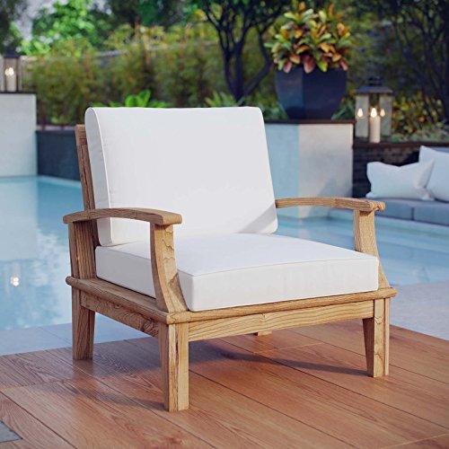 Modway Marina Outdoor Patio Teak Armchair, Natural White