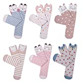 Haley Clothes Cute Girls No Heel Design Pink Elements Fox Cat Rabbit Knee High Socks (6 Pairs) Pink free size