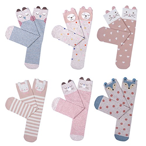 Haley Clothes Cute Girls No Heel Design Pink Elements Fox Cat Rabbit Knee High Socks (6 Pairs) Pink free size Design High Heel