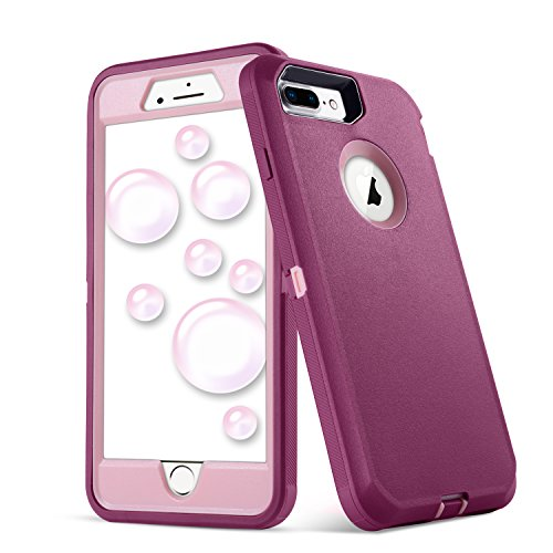 iPhone 8 Plus Case,iPhone 7 Plus Case,5.5 Inch Screen [VCOSI] Heavy Duty Defense Shield for iPhone 8 Plus & iPhone 7 Plus (ONLY) Shock-Resistant Dustproof Case (Fuchsia/Lightpink)