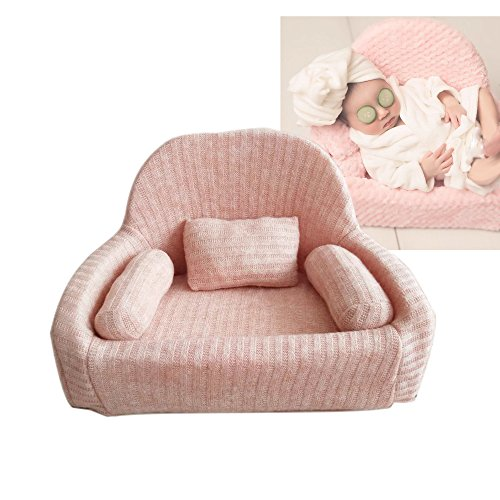 Leo Skye Couch Photography Props for Newborns 0-3 Months EPE Foam Professional Posing Aid Sofa Chair Pose Pillow Beans (Coral Pink)