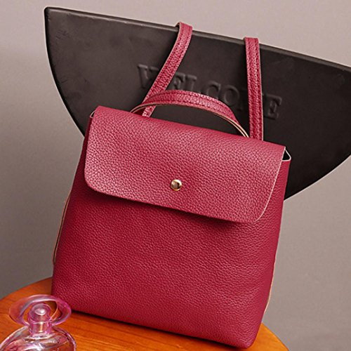 Satchel Backpack Inkach Travel School Womens Watermelon Red Fashion Leather Purse Bag Rucksack Bags AAYr5q