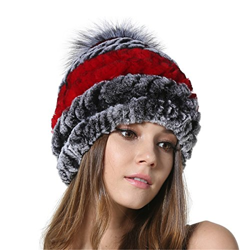Silver Fur (MEEFUR Womens Silver Fox Fur Ball Hat Winter Rex Rabbit Fur Knitted Beanies With Genuine Fur Pom Pom Bobble Red Grey)