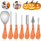 Halloween Pumpkin Carving Kit 7 Pieces - Sturdy Stainless Steel Pumpkin Tools Crafted For Efficiency While Carving Your Pumpkin, Easily Carve Sculpt Halloween Jack-O-Lanterns