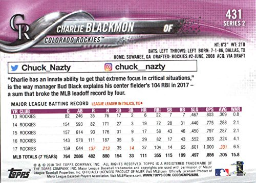 ece7e46fe Amazon.com  2018 Topps Baseball Series 2 431 Charlie Blackmon Colorado  Rockies Official MLB Trading Card  Collectibles   Fine Art