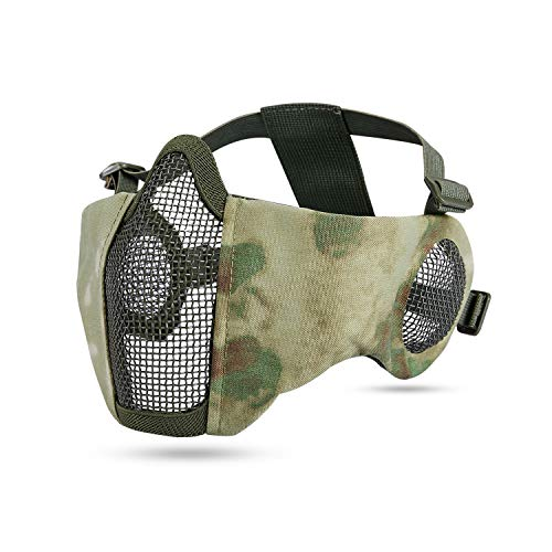 KUYOU Airsoft Mask Adjustable Half Metal Steel Mesh Mask Ear Protection Face Mask for Hunting, Painting, Shooting (Army Green)