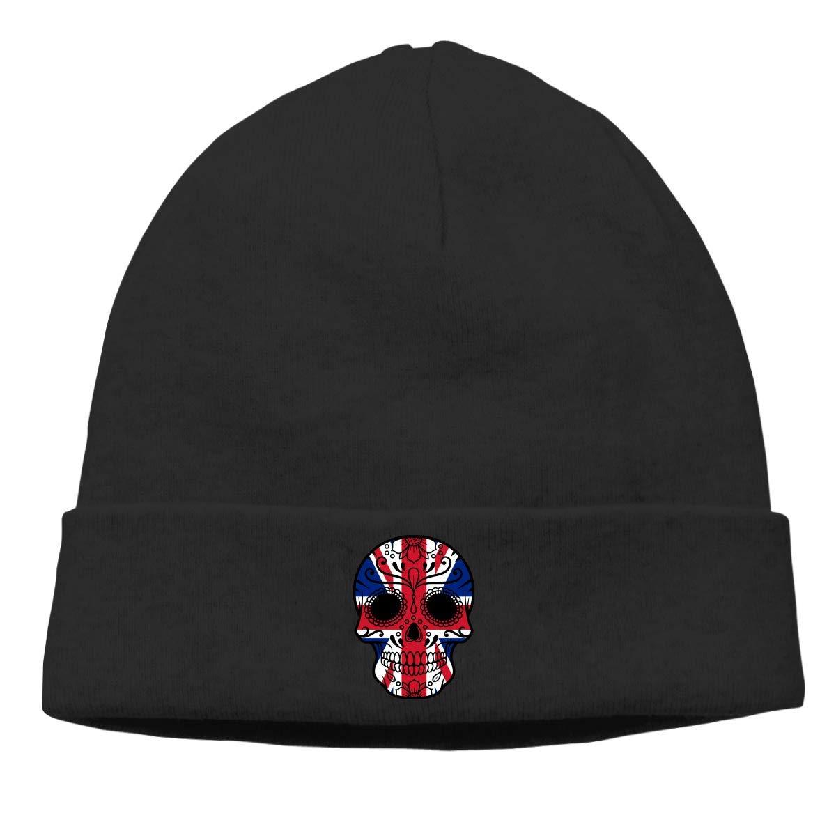 FFMMdogs Boys and Girls Beanie Skully Hat British Flag Sugar Skull Classic Toboggan Hat Sports Fan Knit Hat Black
