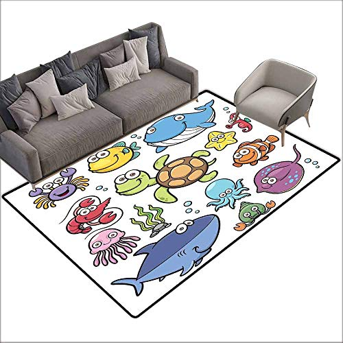 - Door Rug for Internal Anti-Slip Rug Whale Ocean Animals Collection Cheerful Swimming Clown Fish and Puffer Fish Shrimp Artwork Easy to Clean W6'7 x L8'10 Multicolor