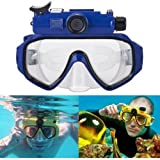 Waterproof Camera Scuba 720P Digital Diving Camera Mask-30M Underwater Swim Camera (Blue)