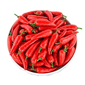 JEDFORE Simulation Artificial Lifelike Fake Vegetable Red Pepper Hot Chili for Home Kitchen Decoration 36pcs Set 7