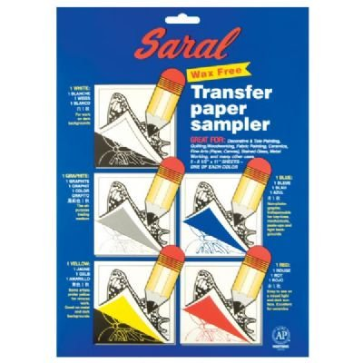 Saral Wax Free Transfer Paper Sampler In Includes 1 Each of White Graphite, Yellow, Blue and Red - Art Paper Wax