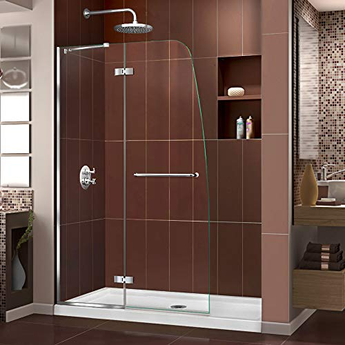 DreamLine Aqua Ultra 45 in. W x 72 in. H Frameless Hinged Shower Door in Chrome (Door Frameless Shower Hinged)